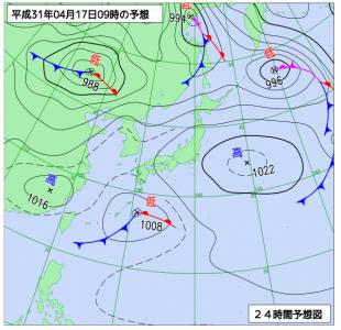 4月17日(水)9時の予想天気図