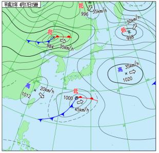 4月17日(水)15時の実況天気図