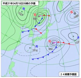 4月18日(木)0.9時の予想天気図