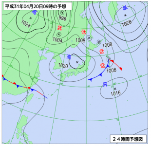 4月20日(土)9時の予想天気図
