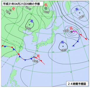 4月21日(日)9時の予想天気図