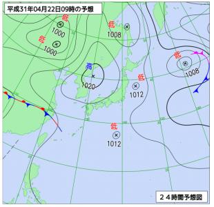 4月22日(月)9時の予想天気図