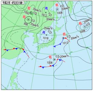 4月22日(月)15時の実況天気図