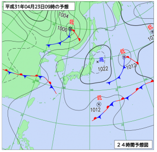 4月23日(火)9時の予想天気図