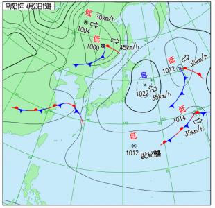 4月23日(火)15時の実況天気図