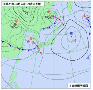 4月24日(水)9時の予想天気図