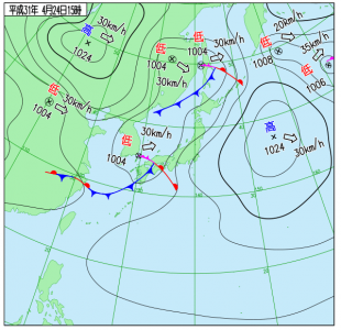 4月24日(水)15時の実況天気図