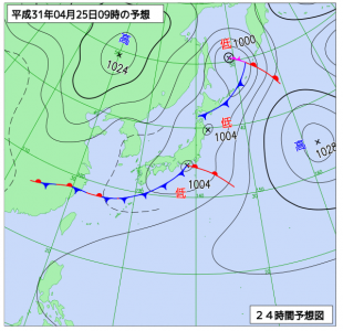 4月25日(木)9時の予想天気図
