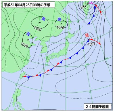 4月26日(金)9時の予想天気図