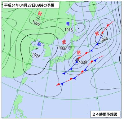4月27日(土)9時の予想天気図
