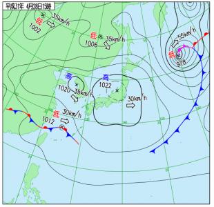 4月28日(日)15時の実況天気図