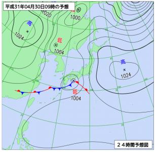 4月30日(火休)9時の予想天気図