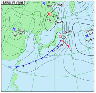 5月1日(水祝)15時の実況天気図