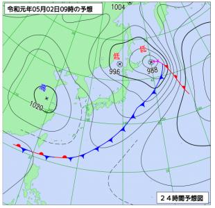 5月2日(木休)9時の予想天気図
