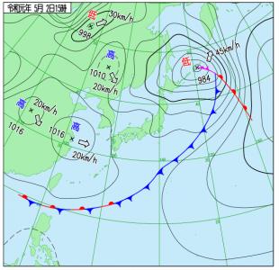 5月2日(木休)15時の実況天気図