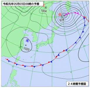 5月3日(金祝)9時の予想天気図