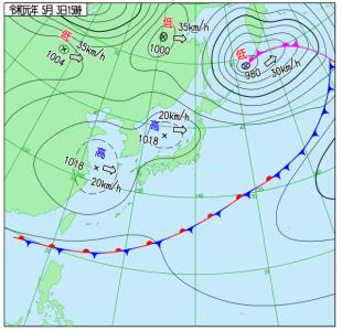 5月3日(金祝)15時の実況天気図