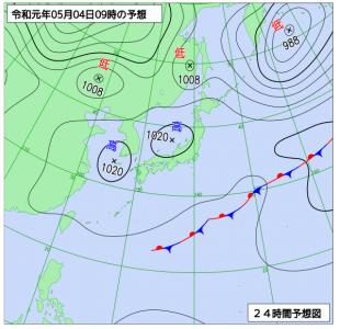 5月4日(土祝)9時の予想天気図