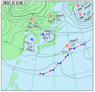 5月4日(土祝)15時の実況天気図
