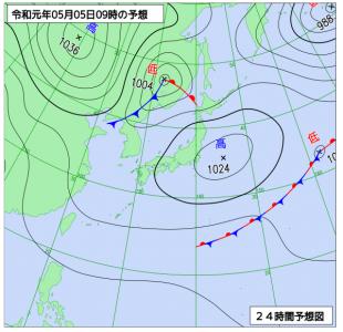 5月5日(日祝)9時の予想天気図