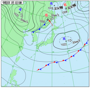 5月5日(日祝)15時の実況天気図