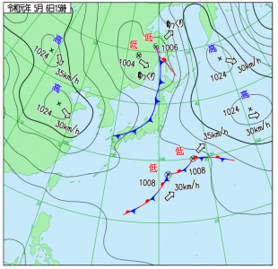 5月6日(月振)15時の実況天気図