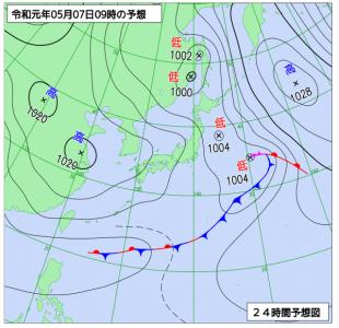 5月7日(火)9時の予想天気図