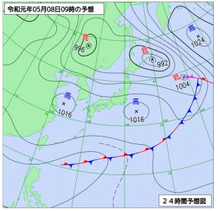 5月8日(水)9時の予想天気図
