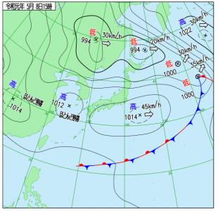 5月8日(水)15時の実況天気図