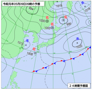 5月9日(木)9時の予想天気図
