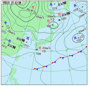 5月9日(木)15時の実況天気図