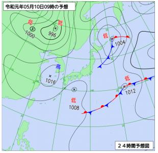5月10日(金)9時の予想天気図