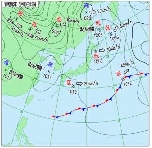 5月10日(金)15時の実況天気図