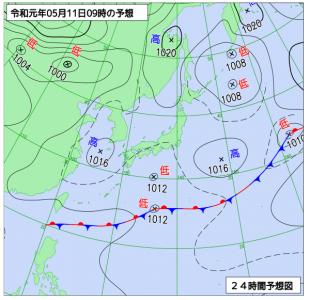5月11日(土)9時の予想天気図