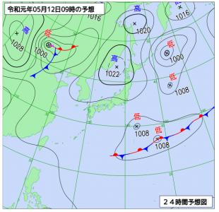 5月12日(日)9時の予想天気図