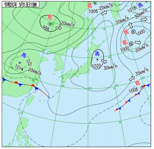 5月13日(月)15時の実況天気図