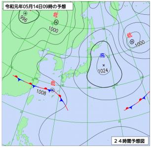 5月14日(火)9時の予想天気図