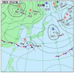 5月14日(火)15時の実況天気図