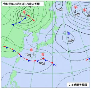 5月15日(水)9時の予想天気図