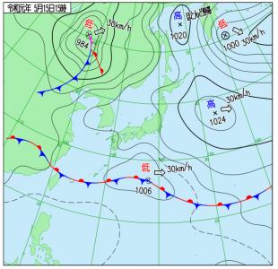 5月15日(水)15時の実況天気図