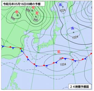 5月16日(木)9時の予想天気図