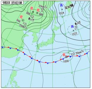 5月16日(木)15時の実況天気図