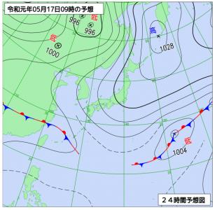 5月17日(金)9時の予想天気図