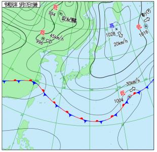 5月17日(金)15時の実況天気図