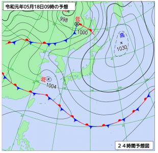 5月18日(土)9時の予想天気図