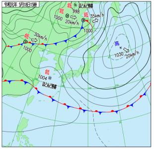 5月18日(土)15時の実況天気図