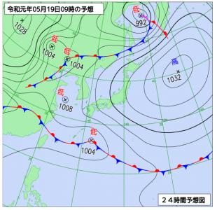 5月19日(日)9時の予想天気図