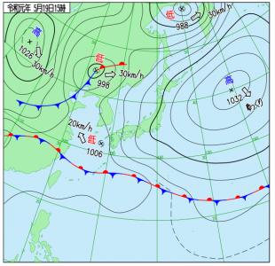 5月19日(日)15時の実況天気図