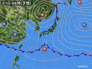 5月21日(火)9時の予想天気図