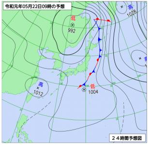 5月22日(水)9時の予想天気図